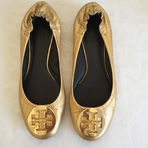 Tory Burch gold logo flats